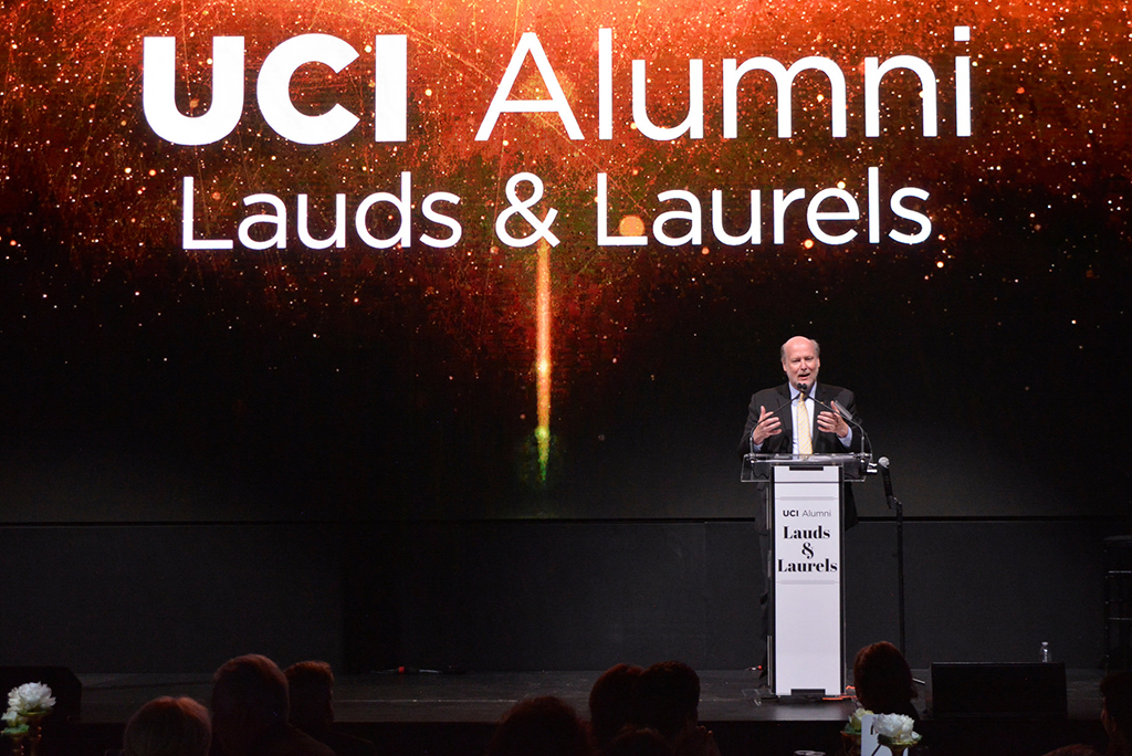 Chancellor Gillman at the UCI Alumni Association's 2016 Lauds and Laurels celebration.